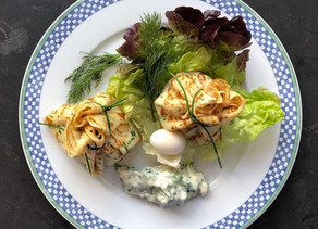 French Cooking: Pancake Purses Filled with Quail Egg and Piquant Mayonnaise