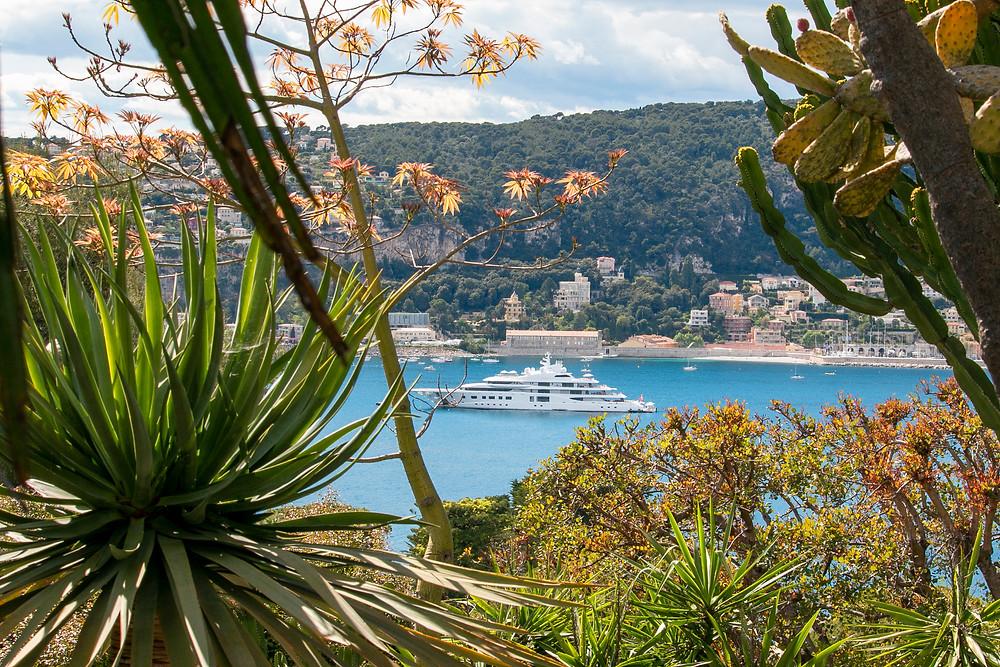 French Riviera views from the Exotic Gardens at Villa Ephrussi de Rothschild, Saint-Jean-Cap-Ferrat