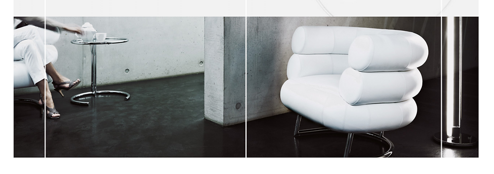 Two iconic Eileen Gray designs: the E-1027 side table and the Bibendum chair. Photos © Aram Designs