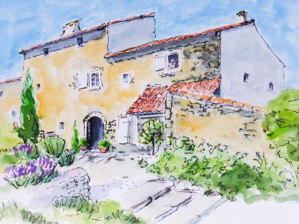 Peter Mayle's house in Ménerbes - watercolor by Amanda Ashworth