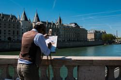 Artist on the Bridge, Paris