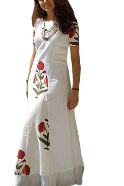 White Long Kurti with Digital Print - Fully Stiched