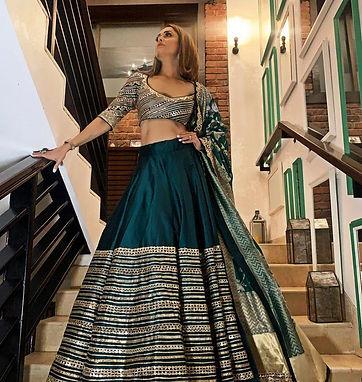 Printed Lehenga Choli in Heavy Golden Zari Silk