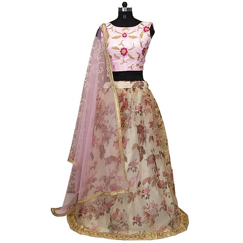 Digital Printed Floral Lehenga