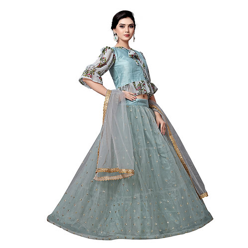 Pista Gray Digital Lehenga