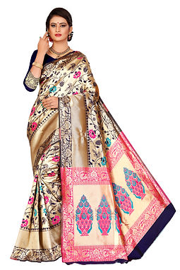 Pure Jacquard Cotton Silk Saree With Blouse