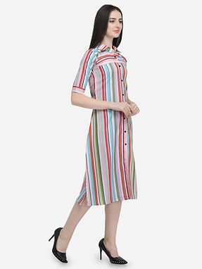 Cotton Printed Kurti Solid Plain With Button