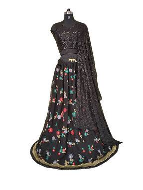 Black Lehenga with Embroidery Work