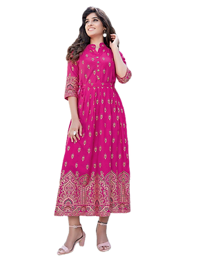Heavy Cotton Long Frill Designer Gown