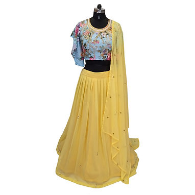 Yellow Embroidered Georgette Stylish Lehenga