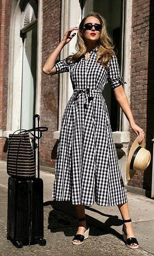 Black Checkered Western Style Dress