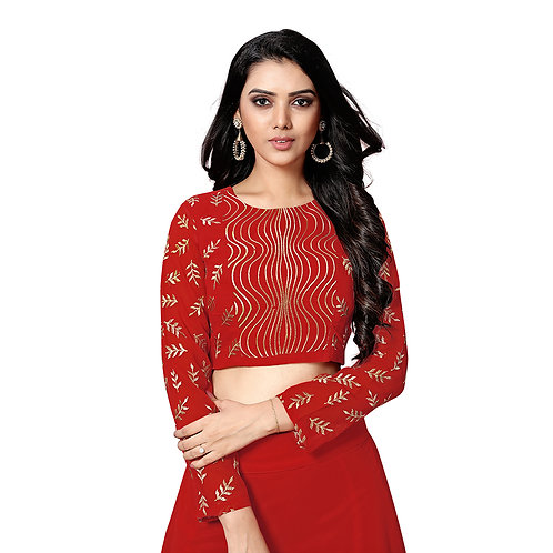 Red Georgette Crop Top Lehenga