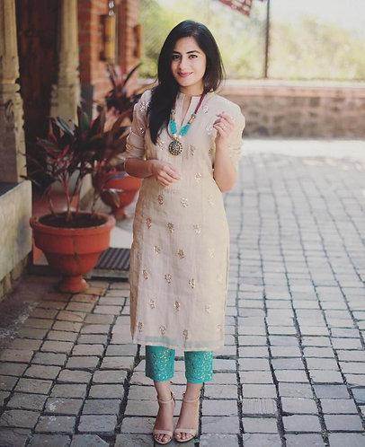 Floral Foil Chanderi Silk Top With Beautiful Jecquard Silk Pant
