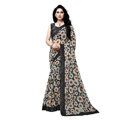 Heavy Digital Printed Saree with Zari and Sequence Work