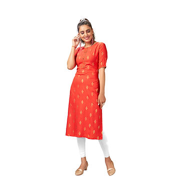 Straight Kurti Samosa Lace Pattern in Tie with Button