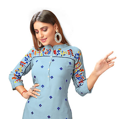 Straight Kurti With Heavy Embroidery Work