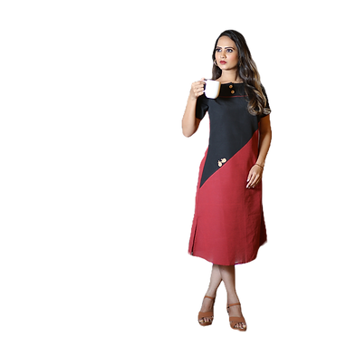 Maroon and Black Kurti - Fully Stiched