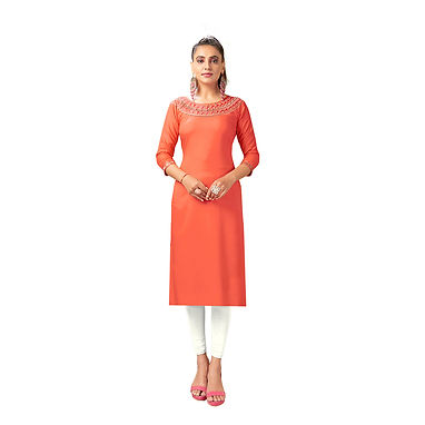 Straight Kurti With Embroidery Work