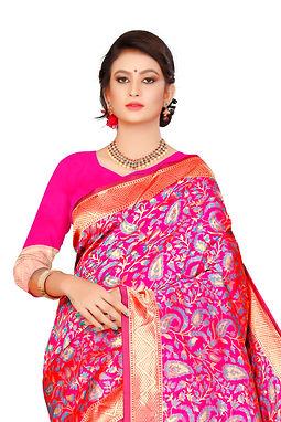 Pure jacquard Cotton Silk Saree With Blouse