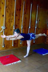 Yvonne Caro en su práctica de yoga