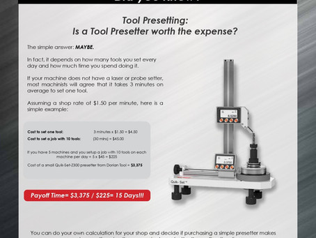 Tool Presetting: Is a Tool Presetter worth the expense?