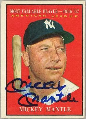 Signed Topps Mickey Mantle baseball card