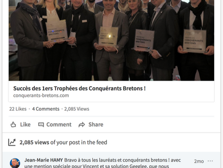 """21/11/2017 - Vincent HOLLEY receives the first prize of the """"Generation Y"""" of """"Conquérants Bretons"""""""