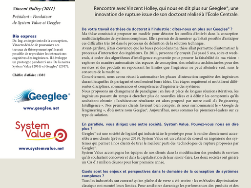"12/03/2018 - Geeglee in a special issue of ""Revue des Centraliens"""