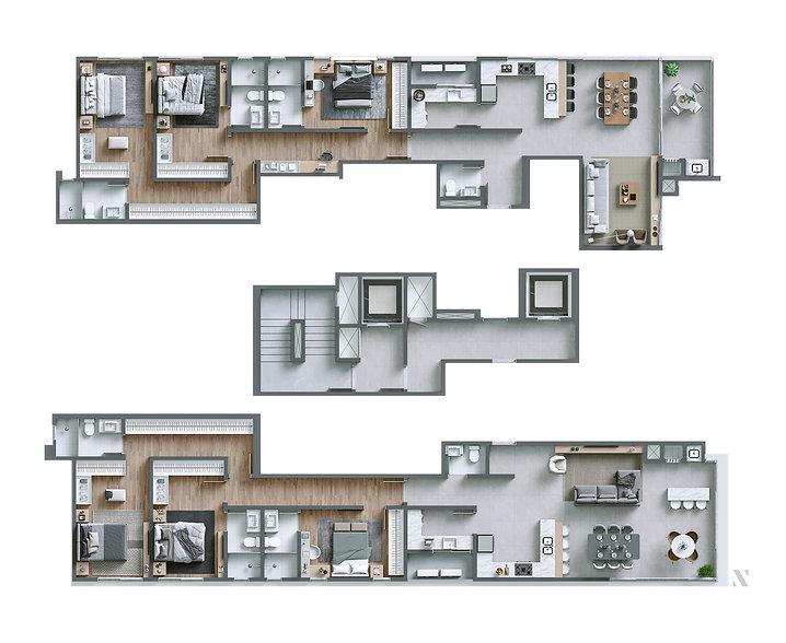 O Iconic oferece 2 modelos de plantas com 2 apartamentos por andar