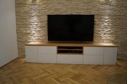 TV stolek dýha dub ,bílá vysoký lesk