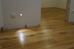 Bodové osvětlení a dubová podlaha