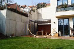 Zastínění terasy Garapa stahovacím baldachýnem