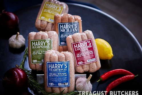 HARRY'S SPECIALITY PORK SAUSAGES 454G