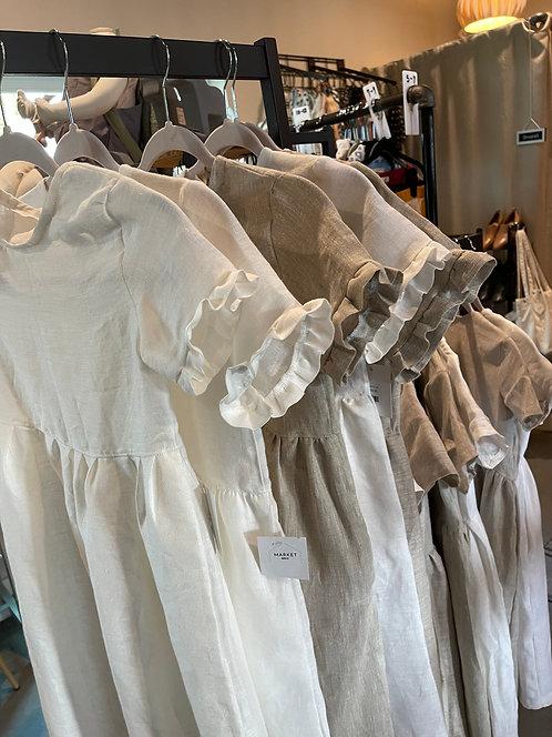Ruffle Sleeve Linen Dress