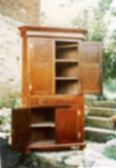 restored walnut corner cupboard