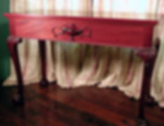 formal mahogany Chippendale table with mouse
