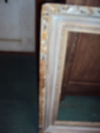 close-up of badly damaged picture frame