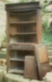 damaged corner cupboard needs restoration