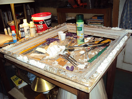 restoration of picture frame in process