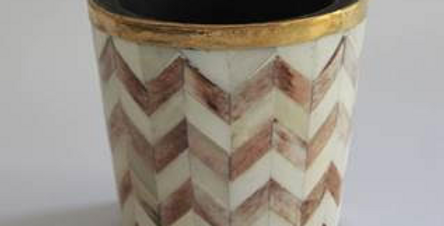 Brown and white bone inlay plant pot from Tooka