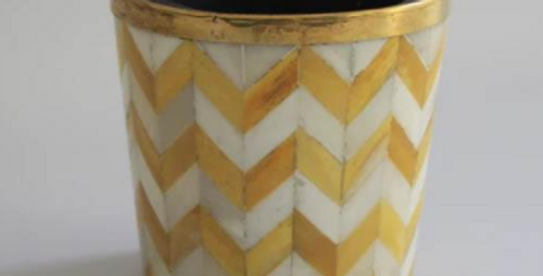 Yellow and white bone inlay plant pot from Tooka