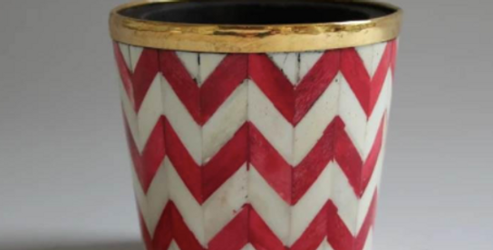 Red and white bone inlay plant pot from Tooka