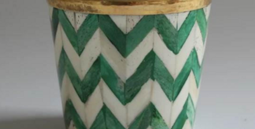 Green and white bone inlay plant pot from Tooka