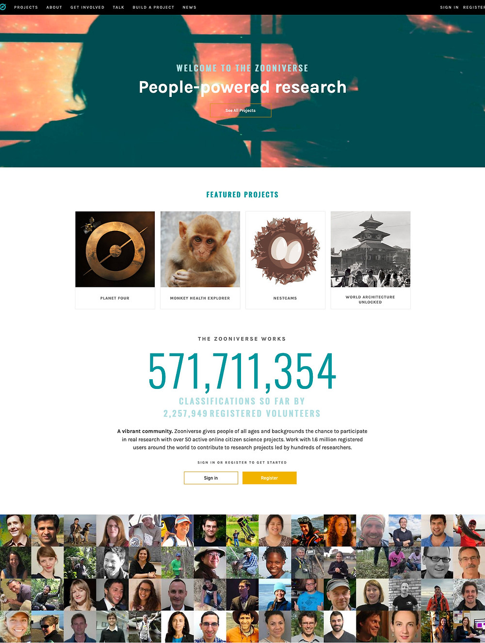 Zooniverse homepage image