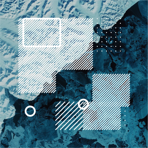 A seascape and geometric pattern image