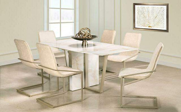 APOLLO MARBLE LOOK GLASS DINING TABLE