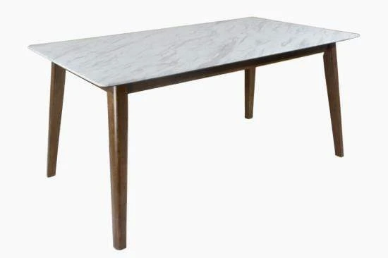 Andro Faux Marble Dining Table - Natural Walnut