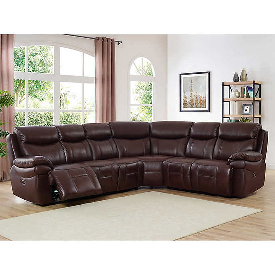 Aarondale Brown Top Grain Leather Power Reclining Sectional