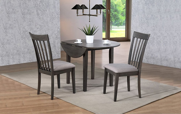 "Delfini 42"" Round Leg Table W/ 2X 8"" Drop Leaves(3 Pc Set)"