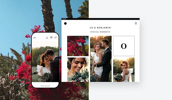 Álbum de fotos con una pareja en el día de su boda